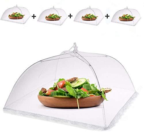 Infreecs Fliegenhaube, Mesh-Screen Essen Cover Zelte Faltbar Netzschutz Speiseschirm Lebensmittel Abdeckung Zelt - für Draußen & Zuhause,43 x 43 x 25 cm, 4 Stück weiß