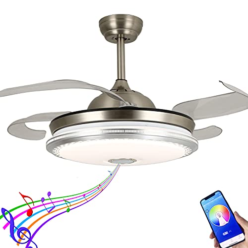 CYZVQP Retractable Ceiling Fan with Lights and Remote Smart Bluetooth Music Player Chandelier 7 Color Lighting change 3-Speed and 4 Invisible Blades Fan, 42 Inch (Silver)