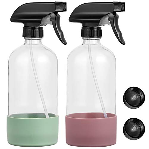 DYHAXA 2 Pack Empty Clear Glass Cleaning Spray Bottles with Silicone Sleeve, 16 Oz Refillable Container with Labels for Handmade Cleaner, Durable Black Trigger Sprayer w/Mist and Stream Settings