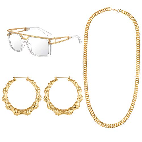 umorismo 80s/90s Hip Hop Costume Kit, Rapper Sunglasses Gold Chain Necklace Bamboo Hoop Earrings