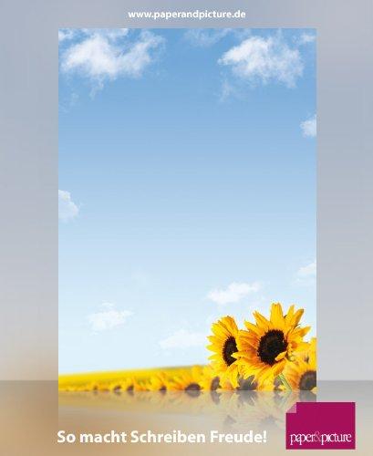 Sommer Briefpapier Sonnenblumen, 100 Blatt DIN A4, 90g/qm, tolles Motivpapier für private und geschäftliche Briefe, Einladungen, Speisekarten, Werbe-Flyer, kleine Plakate. Für Laserdrucker, Tintenstrahldrucker, Kopierer oder zum Beschreiben von Hand