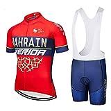 ZHLCYCL Traje Ciclismo Hombre, Maillot Ciclismo y Culotte Ciclismo con 5D Gel Pad para Verano Deportes al Aire Libre Ciclo Bicicleta, RAH-Red, XXL