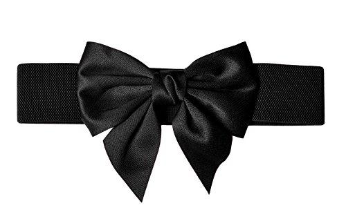 TeeYee Damen Mädchen Fashion und Groß Schleife Decor Elastische Tailleband Breiter Gürtel (L, schwarz)