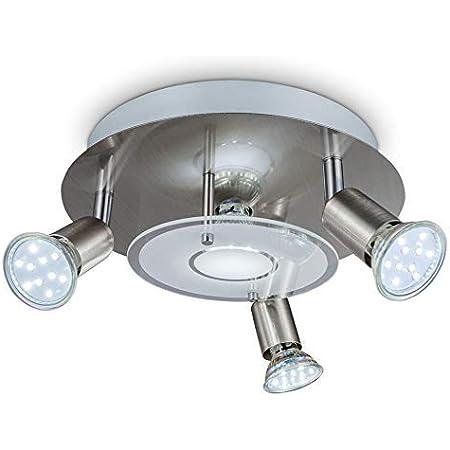 B.K.Licht plafonnier LED moderne 4 spots dont 3 orientables, ampoules LED GU10 3W, éclairage intérieur, métal & verre satiné, finition nickel matte, blanc chaud