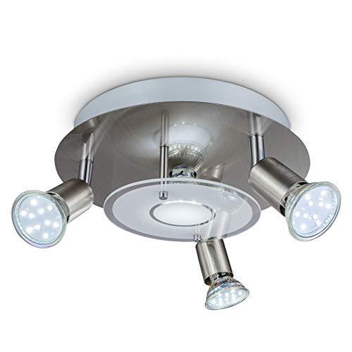 B.K.Licht - Lámpara plafón LED de forma redonda con 4 focos GU10, 3 exteriores giratorios y 1 central adecuados para una gran variedad de habitaciones, 3W y 250 lúmenes, 3000K, color níquel mate
