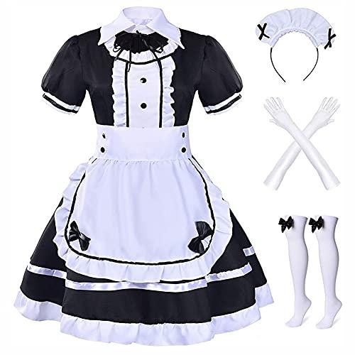 Formemory Maid Dress Cosplay Anzug 7 Pcs Damen Maid Outfit für Mädchen Halloween Cosplay Kostüm Lolita Dress mit Kopfbedeckung Handschuhe Strümpfe (XXXL)