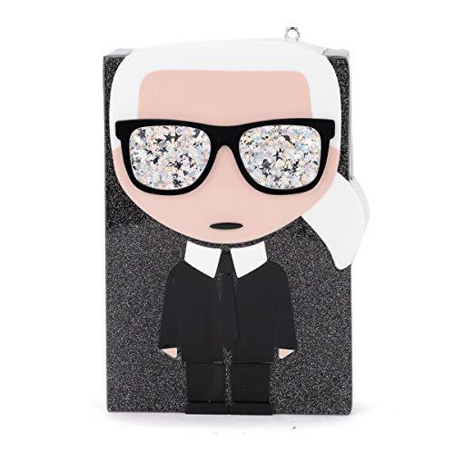 Karl Lagerfeld Pochette en paillettes noirs avec graphismes de dessins animés