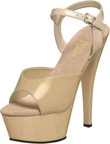 Pleaser KISS-209 - Sandalias para mujer, color Beige, talla 36 EU (Ropa)