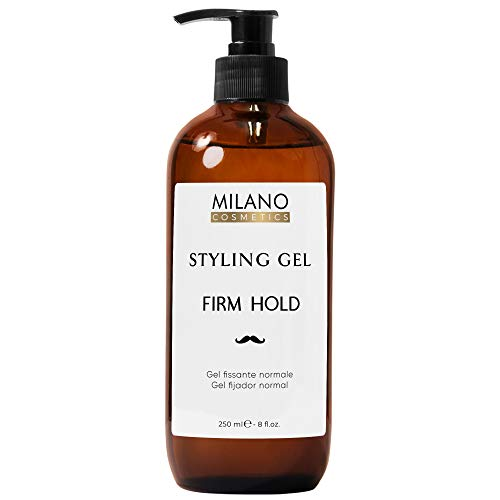 Milano Gel Fijador Hombre Normal 250 ml Strong Hold Styling Fijación Cabello Profesional Caballero Gomina Pelo