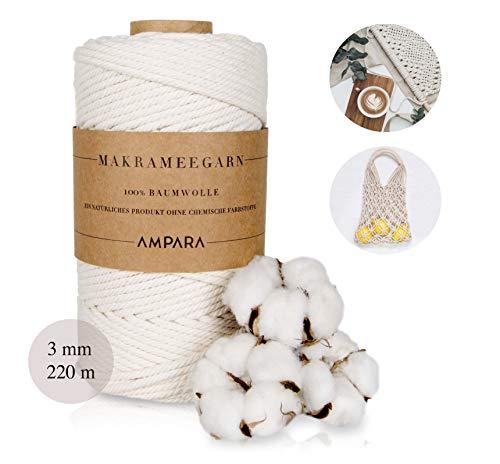 Ampara – Hilo suave de macramé 4 mm x 120 m, 100% hilo de algodón, hilo de cadena (hilo de macramé sin química para artesanía de alta calidad), algodón, beige, 3mm x 220m
