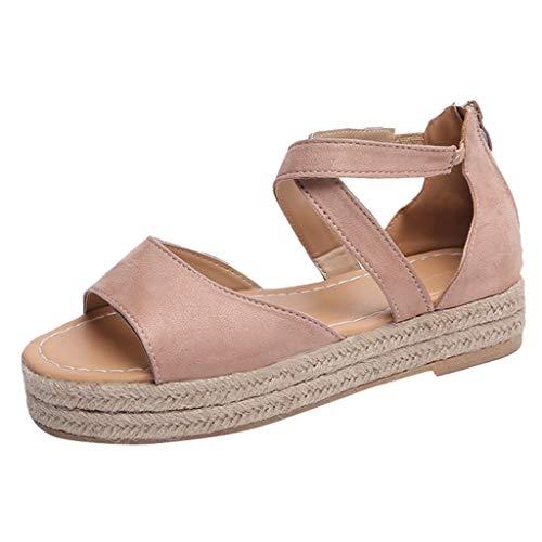 Darringls_Sandalias de Verano Mujer,Sandalia calados Peep Toe Mujer Zapato Fondo Plano Cinturon de Tacon Botines Zapatos de Playa Tacon bajo
