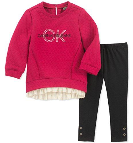 Calvin Klein - Conjunto de túnica de 2 Piezas para bebé niña, Berry/Obsidian, 2 Años