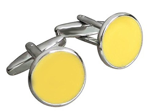 Unbekannt Runde gelbe Manschettenknöpfe Lack Silberne Fassung Plus Silberbox Sale