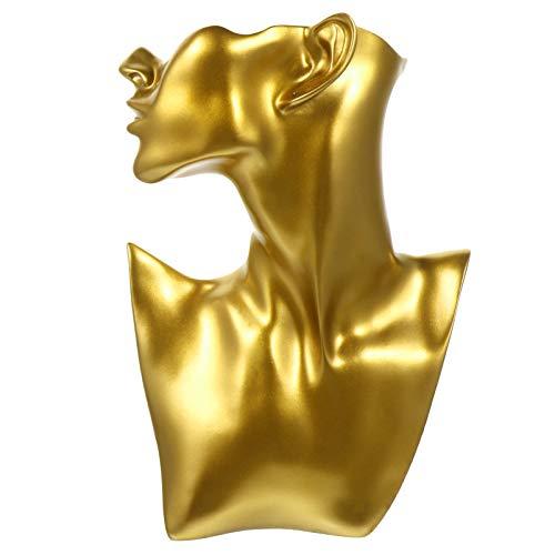 VALICLUD Collier Buste Support de présentation Holder Jewelry Mannequin Display Shelf Holder for Showcase - Or - 26x18 cm