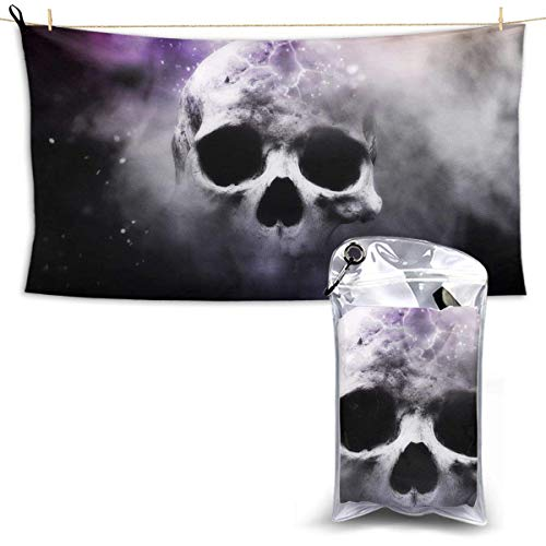 XCNGG Quick Dry Bath Towel, Absorbent Soft Beach Towels, Smoke Skull for Camping, Backpacking, Gym, Travelling, Swimming,Yoga 28.7'' X 51''