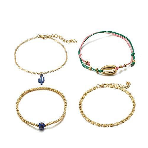 U/N Bohemian Ankle Bracelets Set Multilayer Shell Cactus Adjustable Bracelets Women Anklet Foot Jewelry Gift 4Pcs
