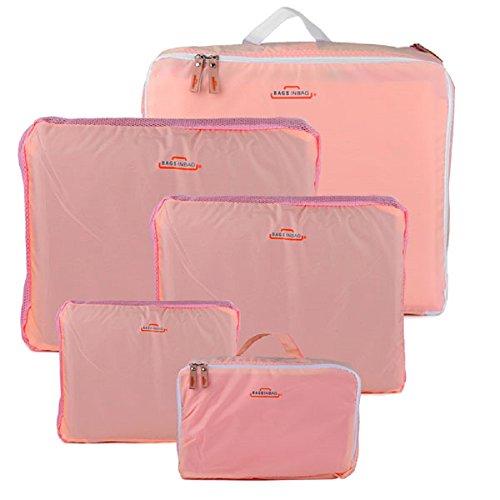Ducomi Bags in Bag - Set di 5 Organizzatori per Valigie - 5 Cubi da Viaggio per Bagaglio per Indumenti, Scarpe e Accessori