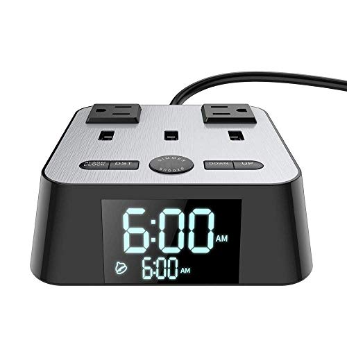 Alarm Clock with USB Charging Station,UL Listed Alarm Clock Charging Dock with 2 AC Outlets and 3 USB Ports Surge Protector, 6ft Extension cord, USB Bedside Charging Strip For Bedrooms Home Dorm Hotel