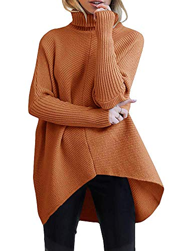 Material:The asymmetric hem sweater made of 50% viscose 30% nylon and 20% PBT,chunky sweater,casual comfy pullovers,ANRABESS high quality sweaters. Design:Turtle cowl neck,long batwing sleeve,high low asymmetric hem,solid color,tunic top sweater,knit...
