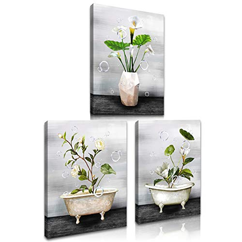 LoveHouse Bathtub Flower Picture for Bathroom Wall decor Premium Giclee Canvas Wall Art Grey White Camellia Common Callalily Floral Artwork for Living Room Bedroom Kitchen Easy to Hang 12X16inchx3pcs