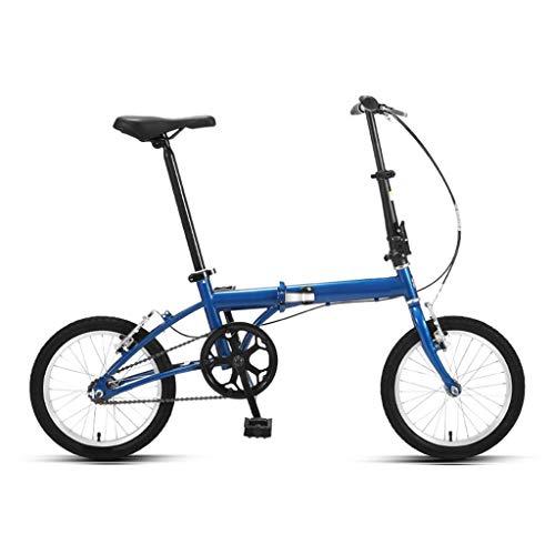 LXJ Mini Bicicleta Plegable Portátil Ultraligera, Bicicleta Urbana De 16 Pulgadas For Hombres Y Mujeres Adultos Estudiantes, Azul, Velocidad Única