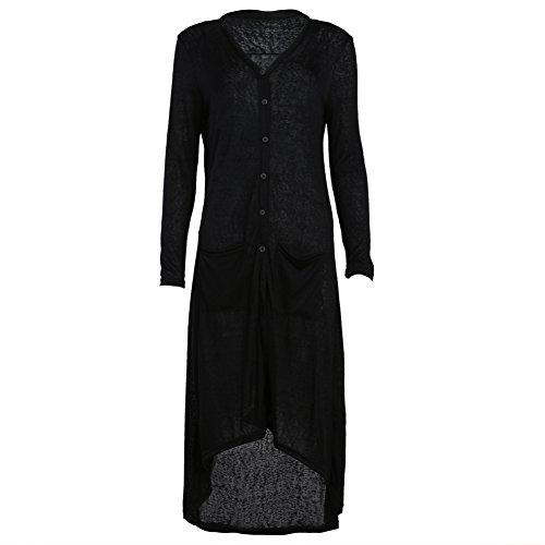 Casaco feminino de tricô de manga comprida com estampa de cardigã solto da Diamondo (Preto, Ásia G)