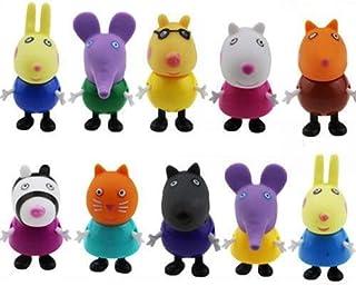 10 figuras de Peppa Pig, juguetes y amigos, paquete de