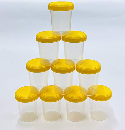 JPD 【10個セット】120ml サンプルボトル プラスチック PP 半透明 広口 スクリューキャップ 目盛付き ラベルシール 12枚付き 液体 個体 粉末 JPD(J Product Design) 日本製 (イエローフタ)