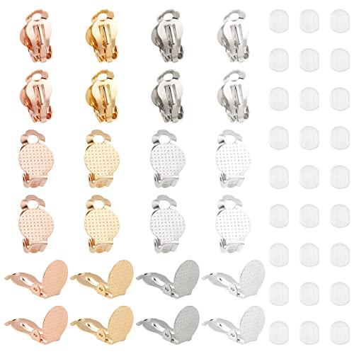 UNICRAFTALE Circa 40 pz 4 Colori Orecchino A Clip Componente 304 Risultati in Acciaio Inossidabile Vassoio Rotondo Piatto Orecchino A Clip con Anello per Orecchino Fai da Te Creazione di Gioielli
