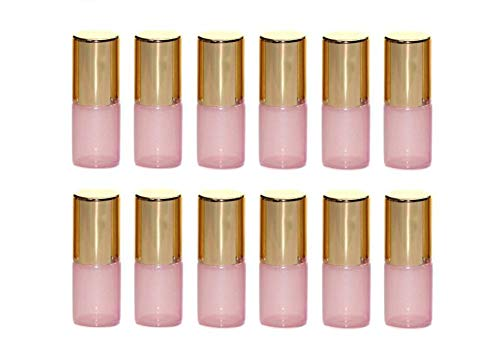 VASANA 12PCS 3ml Empty Pink Glass Roll on Bottles Refillable Essential Oil Perfume Rollerball Bottles Small Containers Vials with Steel Ball and Gold Cover for Perfume Oil Essential Oil Lip Balm