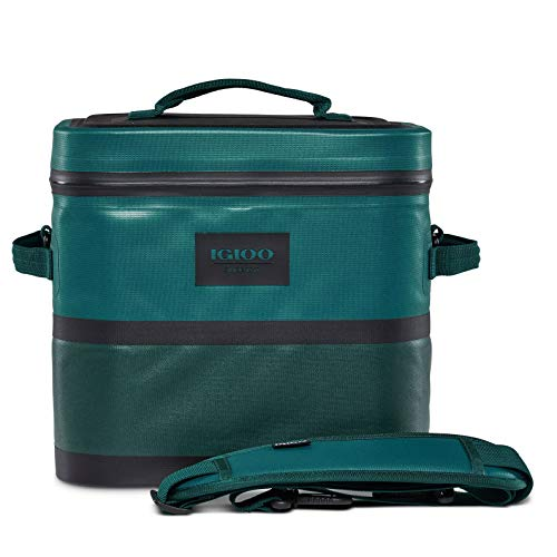 Igloo Reactor Portable 18 Can Soft Sided Insulated Leakproof Waterproof Zipper Cooler Bag with Shoulder Strap for Hiking, Camping, Fishing, & Picnic, Deep Teal