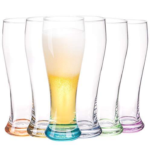 Masen, set di 6 bicchieri da birra da 680 ml, ideali per casa, ristoranti e feste (multicolore)