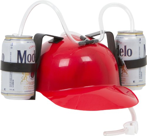 Beer & Soda Guzzler Helmet - Drinking Hat By EZ Drinker (Red)