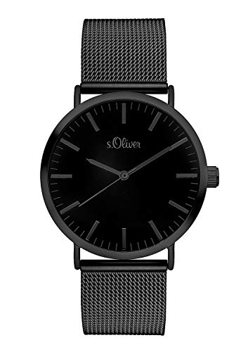 S.Oliver Damen Analog Quarz Armbanduhr SO-3216-MQ, IP Schwarz-Schwarz