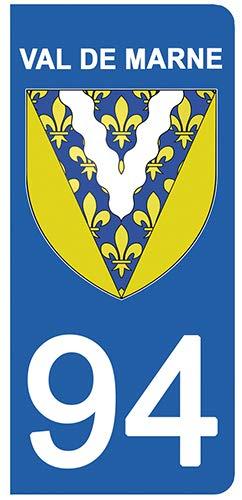 DECO-IDEES 2 Stickers pour Plaque d'immatriculation - 94 - Blason Val de Marne- Stickers Garanti 5 Ans