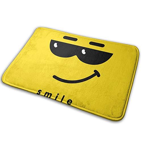 N/C Felpudo Emoticon con con cara sonriente con gafas de sol oscuras antideslizantes para puerta al aire libre alfombra de entrada decoración del hogar 15,7 x 23,5 cm personalizado