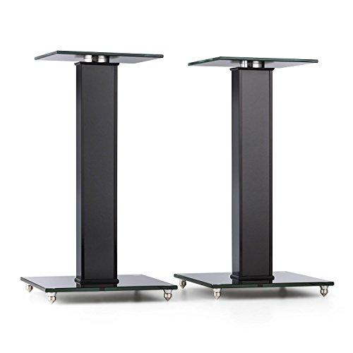 auna BS-03S-BK Soportes para Altavoz Aluminio Vidrio MDF (Capacidad de Carga 10kg, portacables Incl, pies antivibración, Elegante diseño, Soporte Altavoz Suelo Negro)