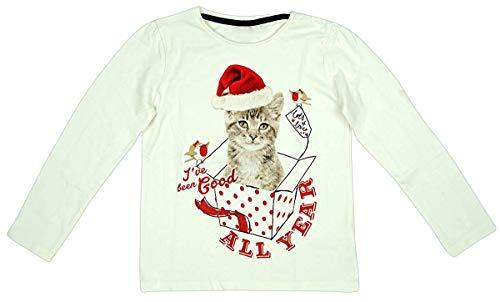 Mädchen Baby Kleinkind Weihnachten Santa Hut Kätzchen Langarmshirt Größen von 12 Monate bis 7 Jahre - Creme, 1.5-2 Years
