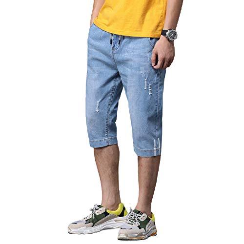 Pantalones Vaqueros de Verano para Hombre, sección Delgada, Moda Rasgada, Pantalones Cortos Coreanos de Cinco Puntos elásticos y Casuales, Pantalones Cortos 33