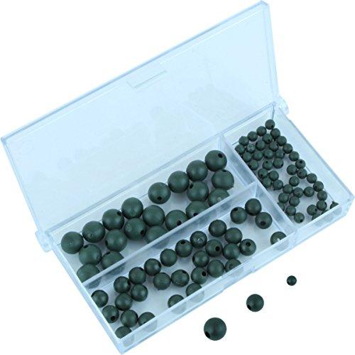 Storfisk fishing & more 100 Gummiperlen in Einer 3 Kammer Sortierbox in 4, 6, und 8 mm