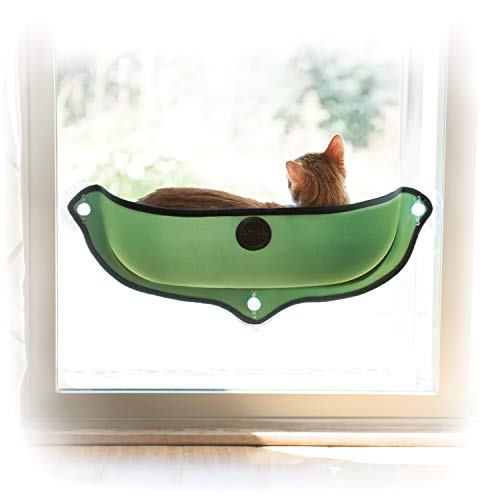 K&H PET PRODUCTS EZ Mount Window Bed Kitty Sill - Mounts to Virtually Any Glass Window or Door Green 27 X 11 X 6 Inches