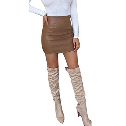 Ba Zha Hei röcke Damen Bandge Leder Hohe Taille Bleistift Bodycon Hip Short Mini Rock Minirock Damen schwarz Mini Freizeit Stretch Kurz Hohe Taille Stretch Business Bleistift Rock (Braun, L)
