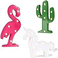 Relaxdays Set de tres lámparas LED, Lámparas mesa, Cactus, Unicornio, Flamenco, Mesilla de noche, Con pilas, Multicolor