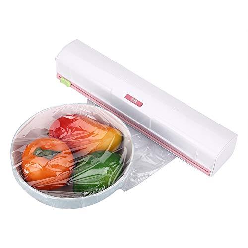 Dispensador Papel Aluminio y Film, Cocina PláStico Transparente MáQuina de Corte Envasado Alimentos Cuchillo ABS Hoja Acero Inoxidable Cling Film Cortador