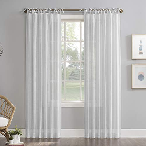 """No. 918 Harmony 2-Pack Slub Textured Linen Blend DIY Crafted Sheer Tie Top Curtain Panel Pair, 50"""" x 84"""", White"""
