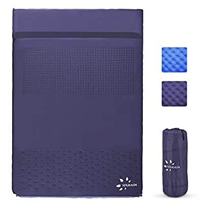 YOUKADA Sleeping-Pad Foam Self-Inflating Camping-Mat for Backpacking Double Self Inflating Sleeping Pad Camping Mattress Camping Pad 2 Person with Pillow for Camping Hiking (Navy, Large)