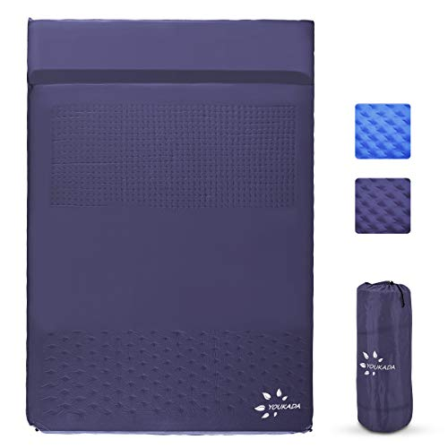 YOUKADA Sleeping-Pad Foam Self-Inflating Camping-Mat for Backpacking Double Self Inflating Sleeping Pad Camping Mattress Camping Pad 2 Person with Pillow for Camping Hiking (Blue, Large)