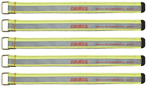 ARRIS RC Lipo Battery Straps 5PCS High Strength 250X20MM 90kg+ Tensile Strength Non-Slip Battery Strap for 4S 6S FPV Racing Quadcopter Drones (Fluorescent Green)