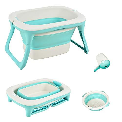 HOMCOM Babybadewanne mit Waschbeckens und Shampoobecher, faltbare Babywanne, Badewanne für Baby, Kunststoff, Grün, 84,5 x 50,5 x 24 cm