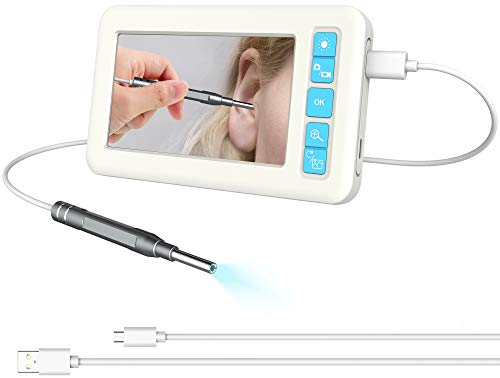 Digital Otoscope 3.9mm Lens Ear Inspection Camera, 4.3inch IPS Color Screen with 6 LED Lights IP67 Waterproof 720P HD CMOS Sensor, Ear Wax Remover Tool for Ear Nose Tooth Included